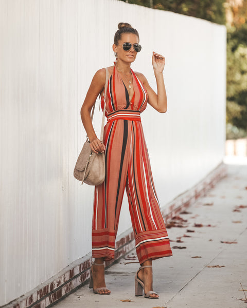Sundown Striped Halter Jumpsuit