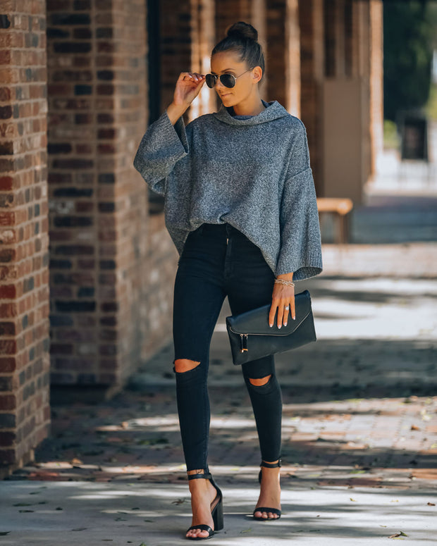 Bend Cowl Neck Sweater - Charcoal