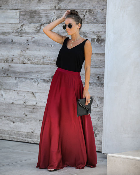 Duchess Satin Maxi Skirt - Wine - FINAL SALE