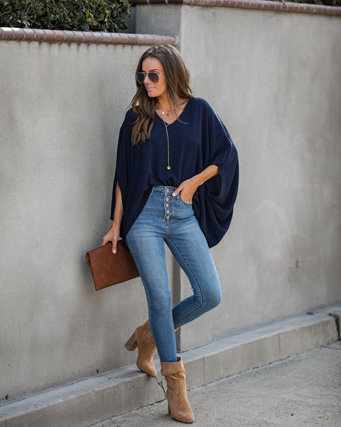 Keeps Getting Better Statement Blouse - Navy - FINAL SALE