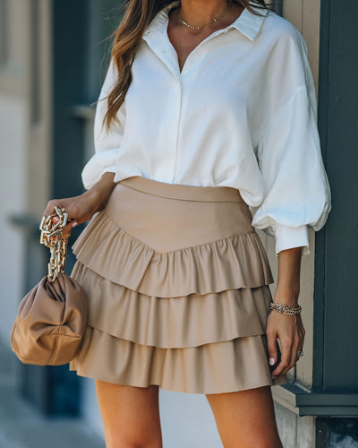 Gemstone Faux Leather Ruffle Tiered Mini Skirt - Latte