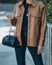 Finley Faux Leather Shacket - Camel - FINAL SALE view 3