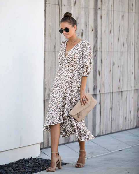 Top Spot Satin Leopard Wrap Midi Dress - FINAL SALE