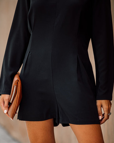 A La Mode Long Sleeve Romper - Black - FINAL SALE