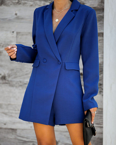 Suits You Pocketed Romper - Blue - FINAL SALE