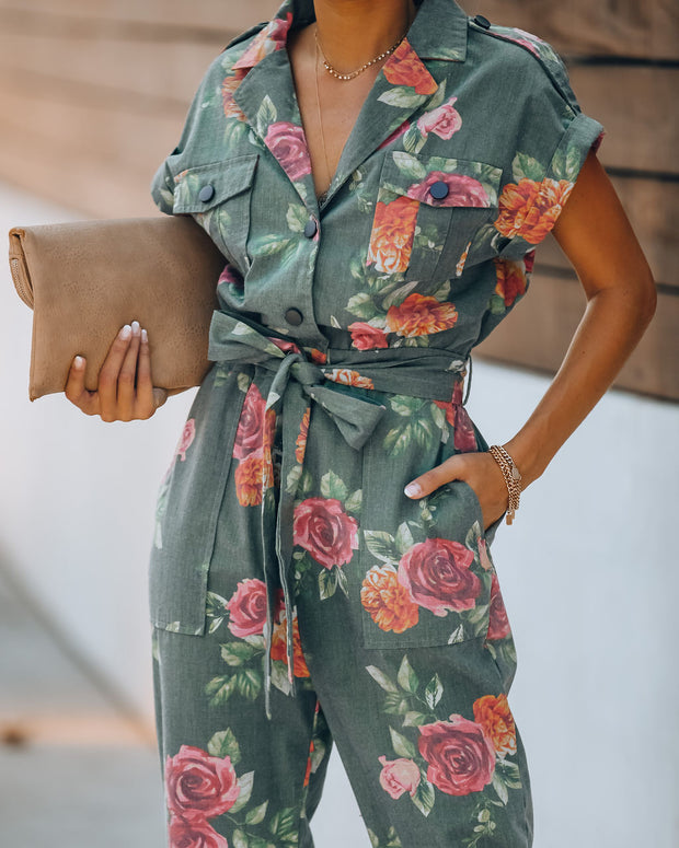Donovan Cotton Blend Pocketed Floral Jumpsuit - FINAL SALE