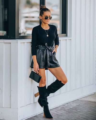 Join The Party Pocketed Faux Leather Shorts