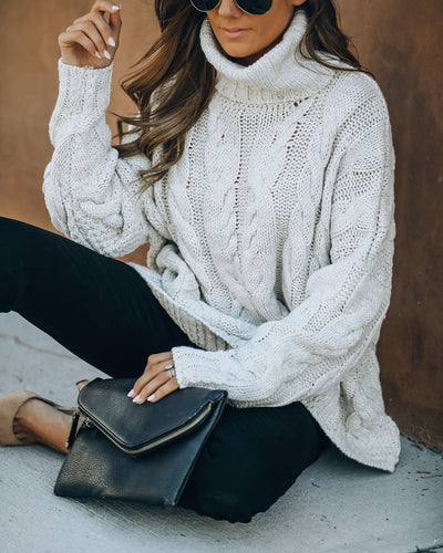 Nash Cable Knit Turtleneck Sweater