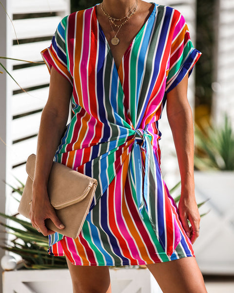 Over The Rainbow Striped Wrap Dress -  FINAL SALE