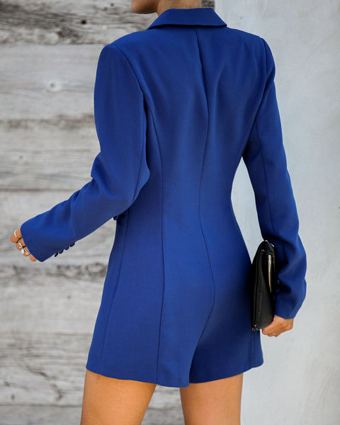 Suits You Pocketed Romper - Blue