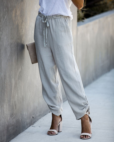 Sunporch Cotton Pocketed Pants - Sage - FINAL SALE