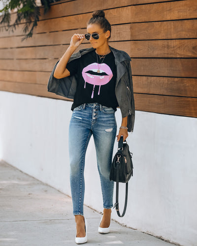 Dripping Lipstick Distressed Cotton Tee