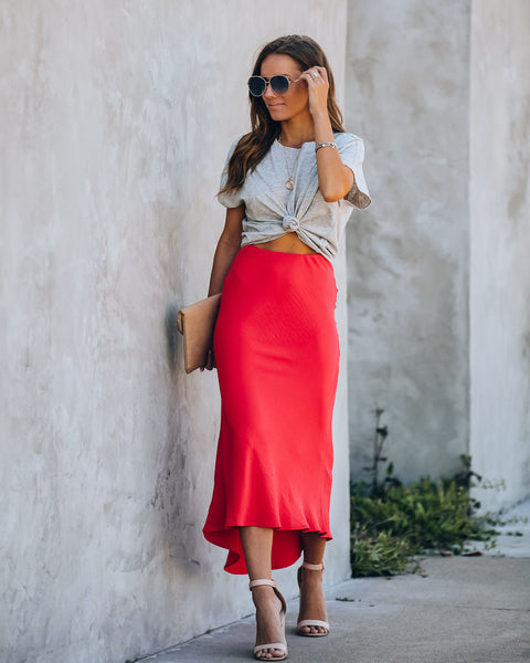 In Sync Soft Crinkled High Low Skirt - Tangerine Red