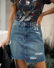 Adaline Distressed Denim Skirt - FINAL SALE