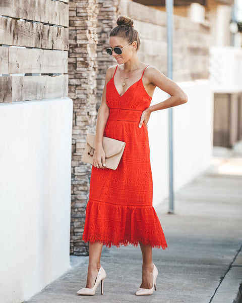 On Bended Knee Lace Dress - Coral Red - FINAL SALE