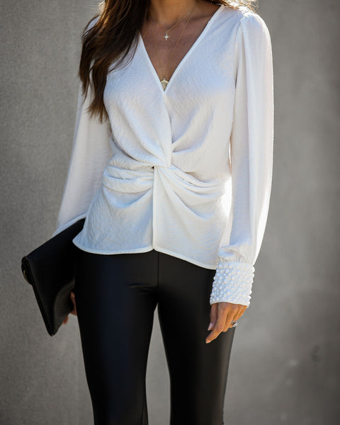 Today We Celebrate Embellished Twist Blouse - Ivory