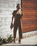 High Water Pocketed Jumpsuit - Taupe