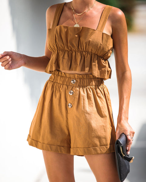Finders Keepers Cuffed Linen Shorts - Camel - FINAL SALE