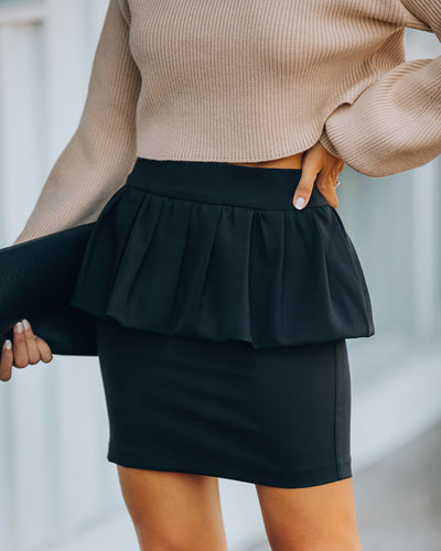 Paradise Peplum Mini Skirt - Black