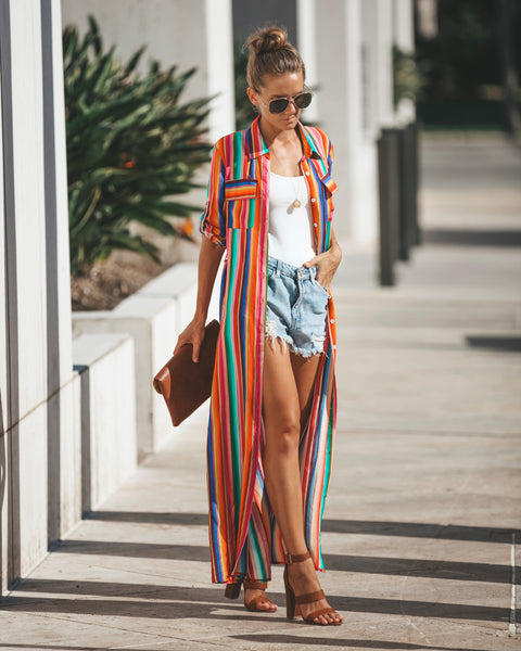 Technicolor Button Down Maxi Dress