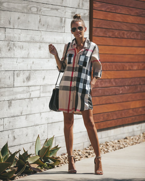 Boulevard Pocketed Button Down Shirt Dress