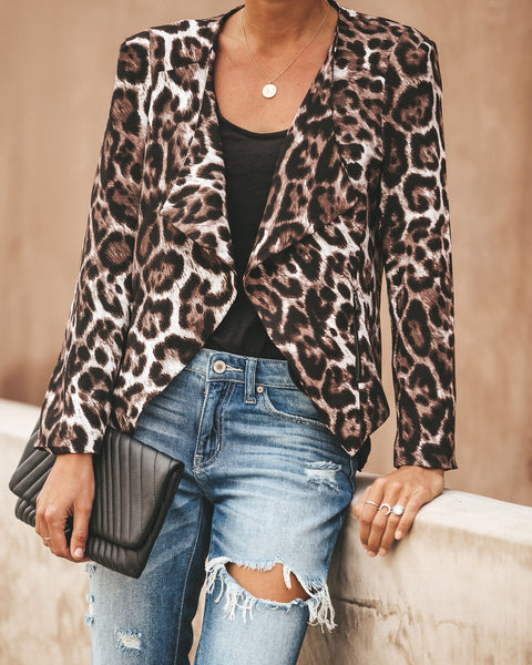 Thriving Leopard Pocketed Asymm Jacket