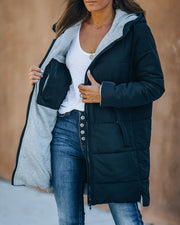 Oaklee Pocketed Hooded Puffer Jacket - Black