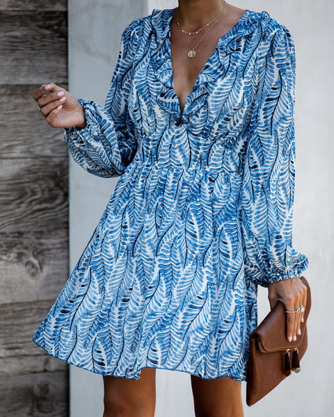 Seascape Printed Ruffle Dress