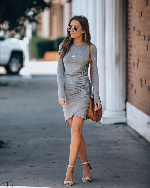 La Vida Loca Long Sleeve Gathered Knit Dress - Heather Grey