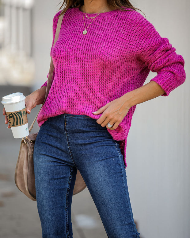 Fueled By Coffee Knit Sweater Magenta – VICI
