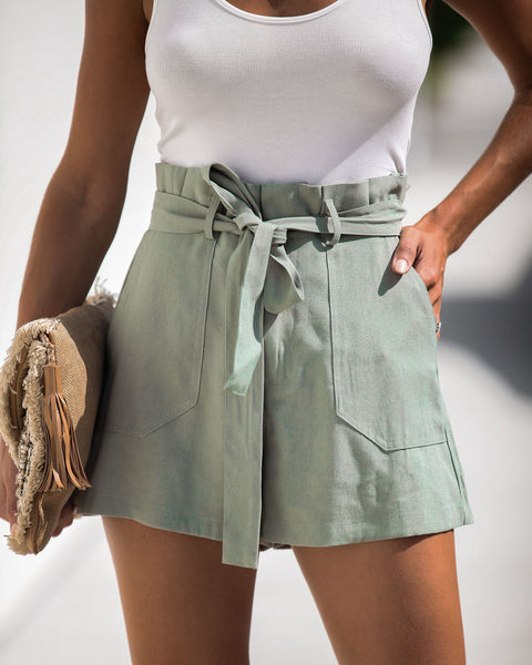 Nature Calls Pocketed Tie Shorts - Sage