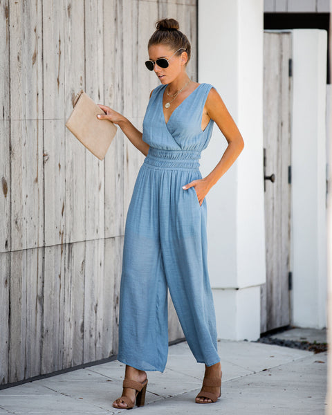 Living's Easy Pocketed Smocked Jumpsuit