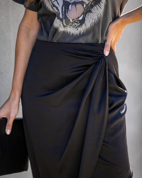 The Night Is Young Satin Drape Midi Skirt - FINAL SALE
