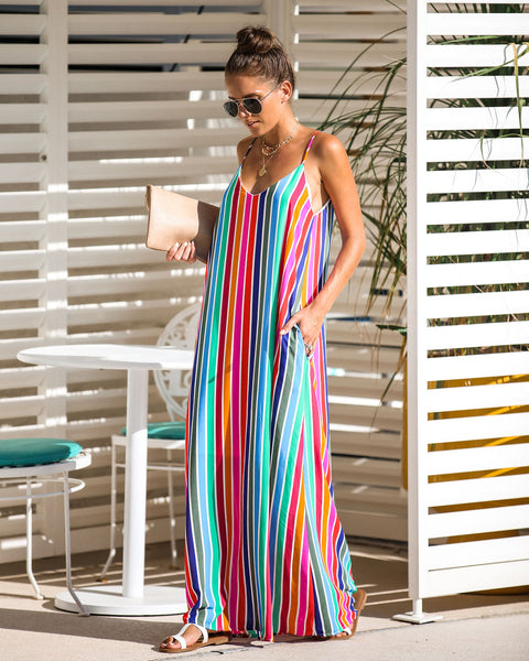 Colorist Striped Pocketed Maxi Dress