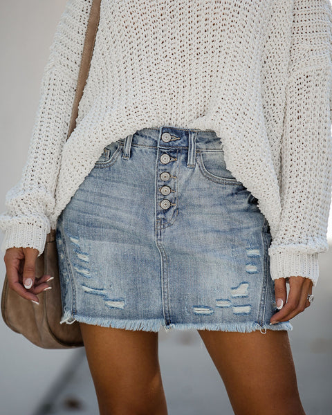 Reborn Distressed Denim Mini Skirt - FINAL SALE