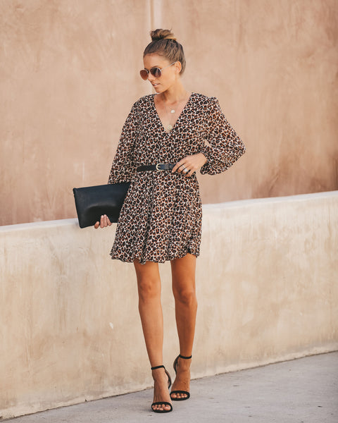 Follow Your Instincts Long Sleeve Leopard Dress