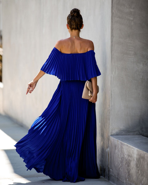 Eternal Love Pleated Maxi Dress - Royal - FINAL SALE