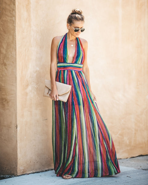 You Color My World Shimmer Striped Maxi Dress - FINAL SALE