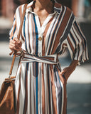 Hillary Striped Pocketed Midi Dress