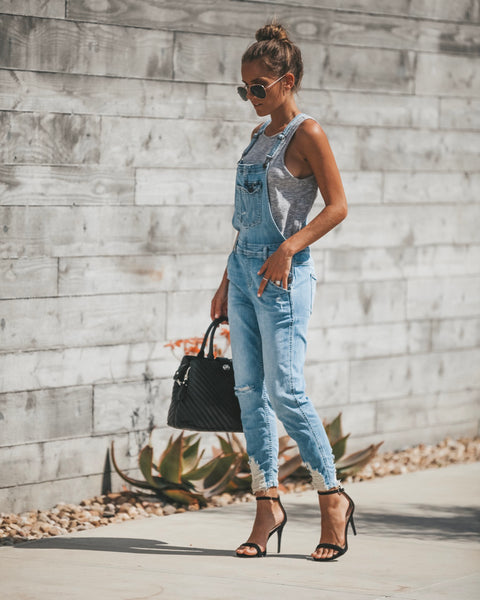 Strauss Distressed Pocketed Overalls