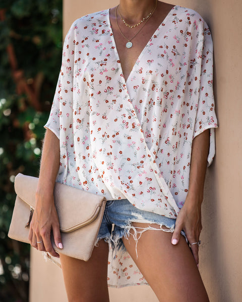 Abel Floral Short Sleeve Drape Blouse - FINAL SALE