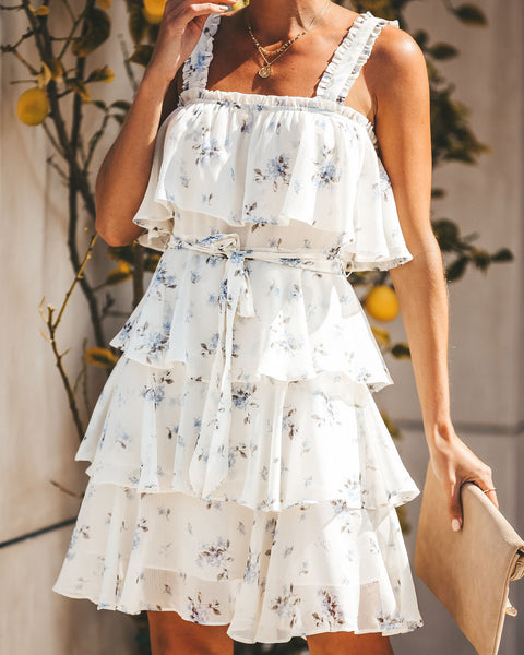 Fantasia Floral Tiered Chiffon Dress