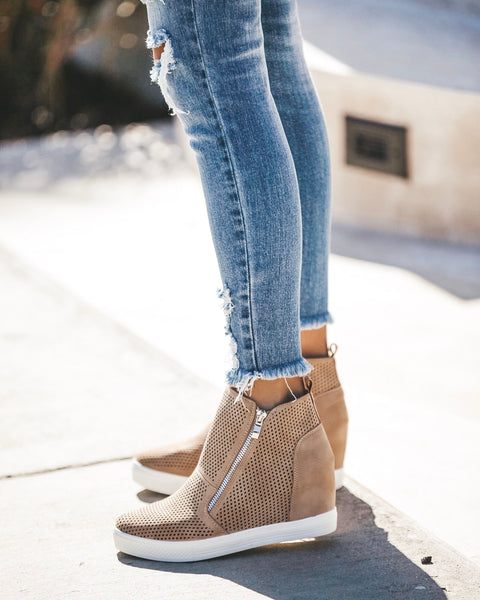 Kickin' It Wedge Sneaker - Beige - FINAL SALE