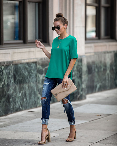 Multitask Short Sleeve Blouse - Jade - FINAL SALE