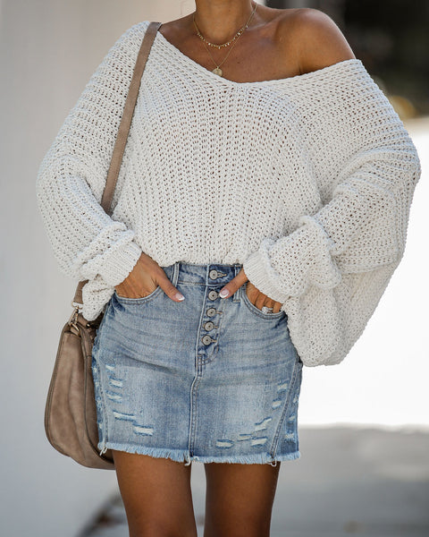 Reborn Distressed Denim Mini Skirt
