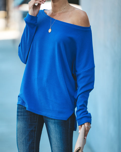 Wallaby Thermal Knit Top - Electric Blue