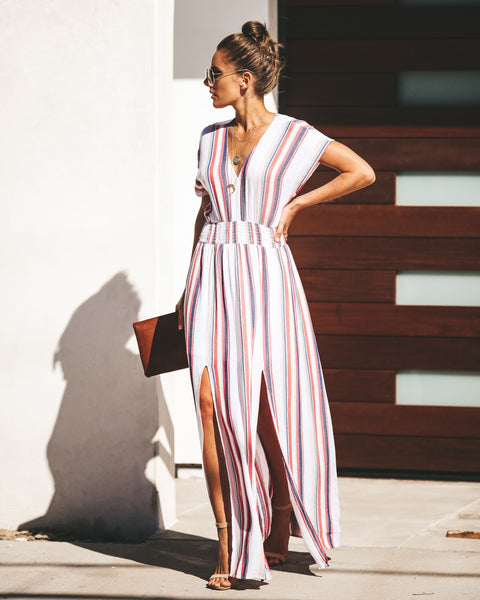 Sunset Views Striped Smocked Maxi Dress