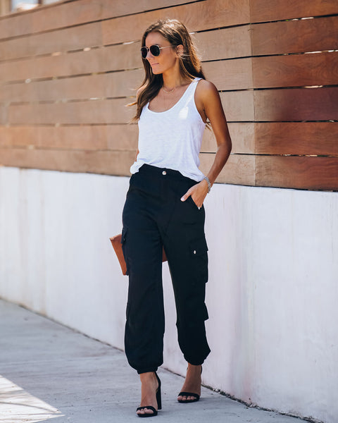 Justin Pocketed Satin Cargo Pants - Black - FINAL SALE