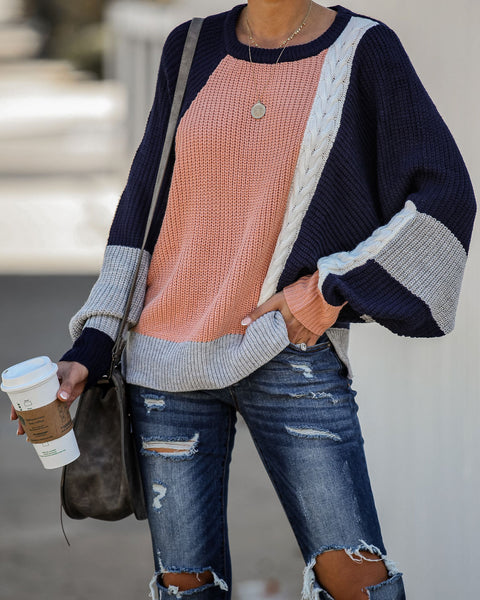 November Rain Colorblock Knit Dolman Sweater - FINAL SALE
