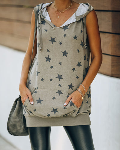 Constellation Pocketed Sleeveless Knit Hoodie